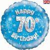"18"" Happy 70th Birthday Blue Foil Balloon"