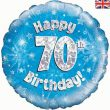 "18"" Happy 70th Birthday Blue Foil Balloon"