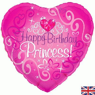"18"" Happy Birthday Princess Holographic Foil"