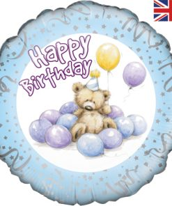 "18"" Cute Bear Happy Birthday Blue Foil"