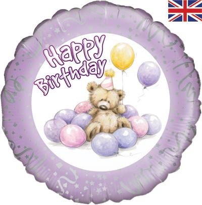 """18"""" Cute Bear Happy Birthday Lilac Foil"""