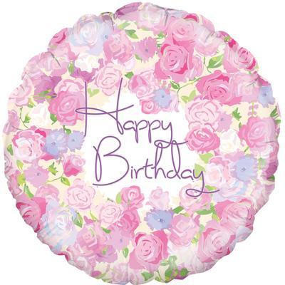 """18"""" Vintage Floral Birthday Foil"""
