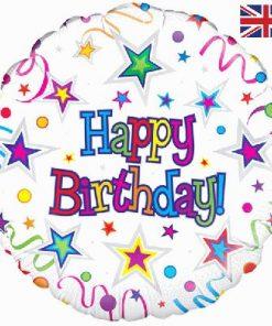 "18"" Happy Birthday Ribbon and Stars Foil"
