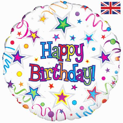 "18"" Happy Birthday Ribbon and Stars Foil"