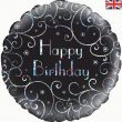 "18"" Birthday Black Swirls Foil"