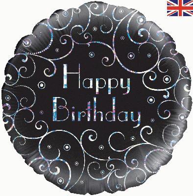 "18"" Birthday Black Swirls Foil"