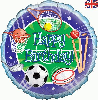 "18"" Happy Birthday Sports Foil"