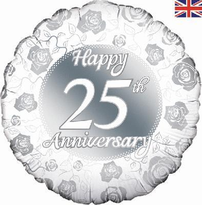 "18"" Happy 25th Anniversary Foil Balloon"