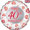 """18"""" Happy 40th Anniversary Foil"""
