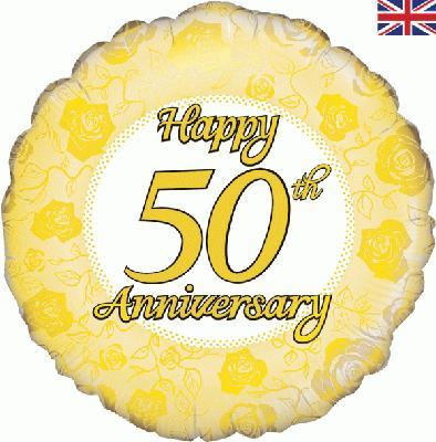 "18"" Happy 50th Anniversary Foil Balloon"