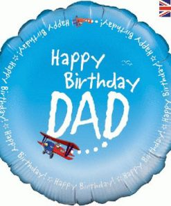 "18"" Happy Birthday Dad Airplane Foil Balloon"