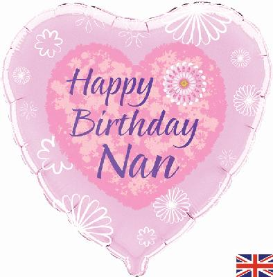 "18"" heart Happy Birthday Nan Foil Balloon"