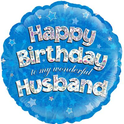 "18"" Happy Birthday Husband Holographic Foil Balloon"