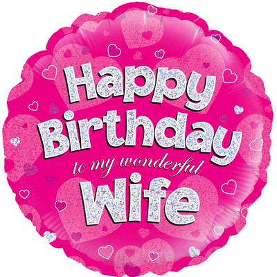"18"" Happy Birthday Wife Foil Balloon"