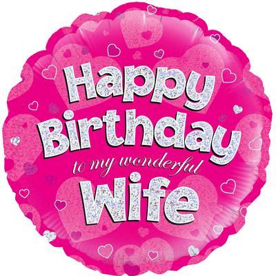 "18"" Happy Birthday Wife Foil Balloon"