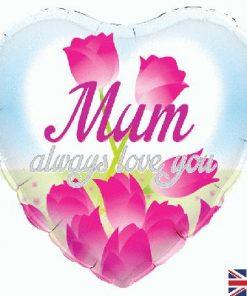 """18"""" Heart Mum Always Love You Foil balloon"""