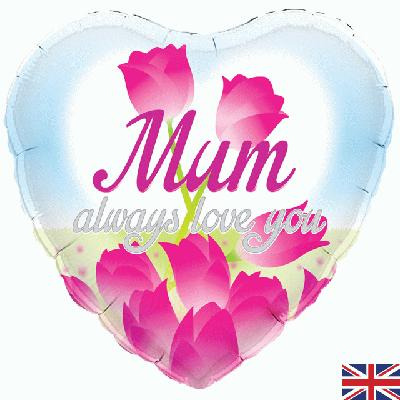 "18"" Heart Mum Always Love You Foil balloon"