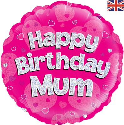 "18"" Happy Birthday Mum Holographic Foil Balloon"