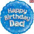 "18"" Happy Birthday Dad Holographic Foil Balloon"