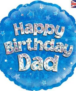 "18"" Happy Birthday Dad Holographic Foil Balloon"
