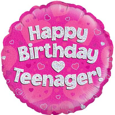 "18"" Happy Birthday Teenager Pink Foil Balloon"