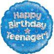 "18"" Happy Birthday Teenager Blue Foil Balloon"