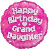 "18"" Happy Birthday Grand Daughter Holographic Foil Balloon"