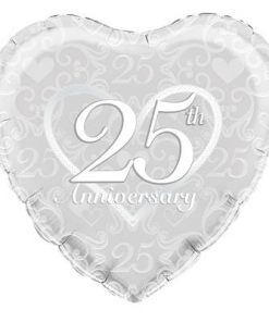 "18"" heart Happy 25th Anniversary Filigree foil balloon"