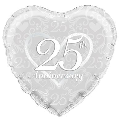 "18"" heart Happy 25th Anniversary Filigree foil balloon"