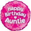 "18"" Happy Birthday Auntie Pink Holographic Foil Balloon"