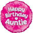 """18"""" Happy Birthday Auntie Pink Holographic Foil Balloon"""