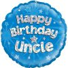 "18"" Happy Birthday Uncle Blue Holographic Foil"