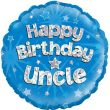 """18"""" Happy Birthday Uncle Blue Holographic Foil"""