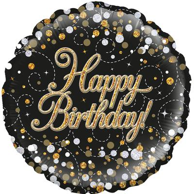 "18"" Sparkling Fizz Birthday Black & Pink Holographic Foil"