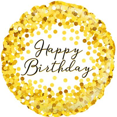 "18"" Gold Sparkle Birthday Holographic Foil Balloon"