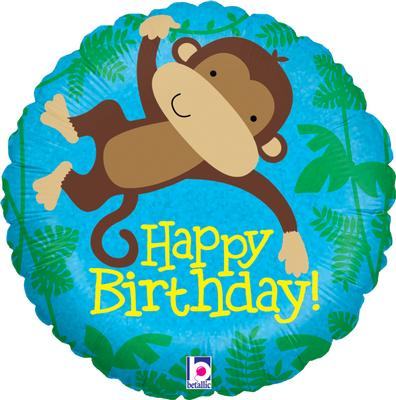 "18"" Monkey Buddy Birthday Holographic Foil"