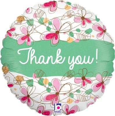 "18"" Floral Thank You Holographic Foil"