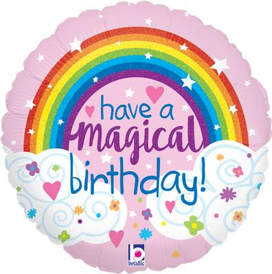 "18"" Glitter Magical Rainbow Birthday Holographic Foil"