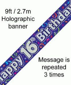 16th Birthday Streamers Banner