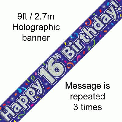 16th Birthday Streamers Banner