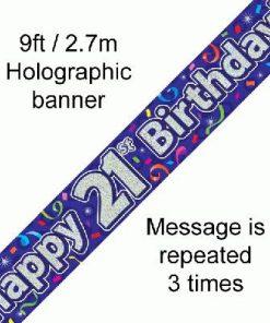 21st Birthday Streamers Banner