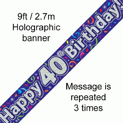 40th Birthday Streamers Banner