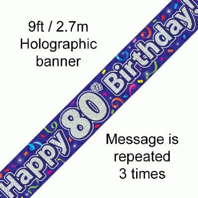 80th Birthday Streamers Banner