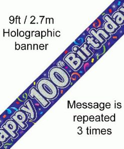 100th Birthday Streamers Banner
