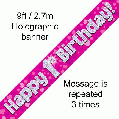 1st Birthday Pink Banner