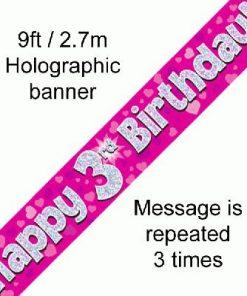 3rd Birthday Pink Banner