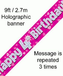 4th Birthday Pink Banner