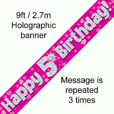 5th Birthday Pink Banner