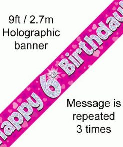 6th Birthday Pink Banner
