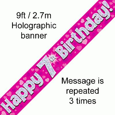 7th Birthday Pink Banner